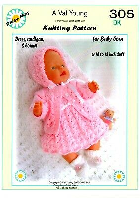 """Val  Young DOLLS KNITTING PATTERN no 305 for BABY BORN or 15/""""//17/"""" or sim doll"""
