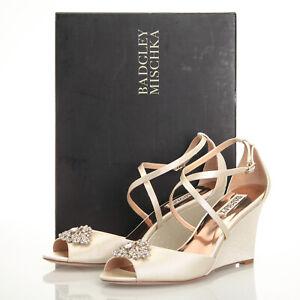 c7638f349b5 Image is loading Badgley-Mischka-Abigail-Ivory-Embellished-Wedding-Wedge- Sandals-