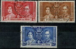 Saint-KITTS-et-NEVIS-1937-George-VI-Coronation-Mi-n-69-a-71-Obliteres-Used