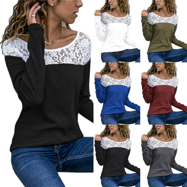 Plus Size Women Lace Crochet Long Sleeve Pullover Tops T-Shirt Blouse Casual Tee
