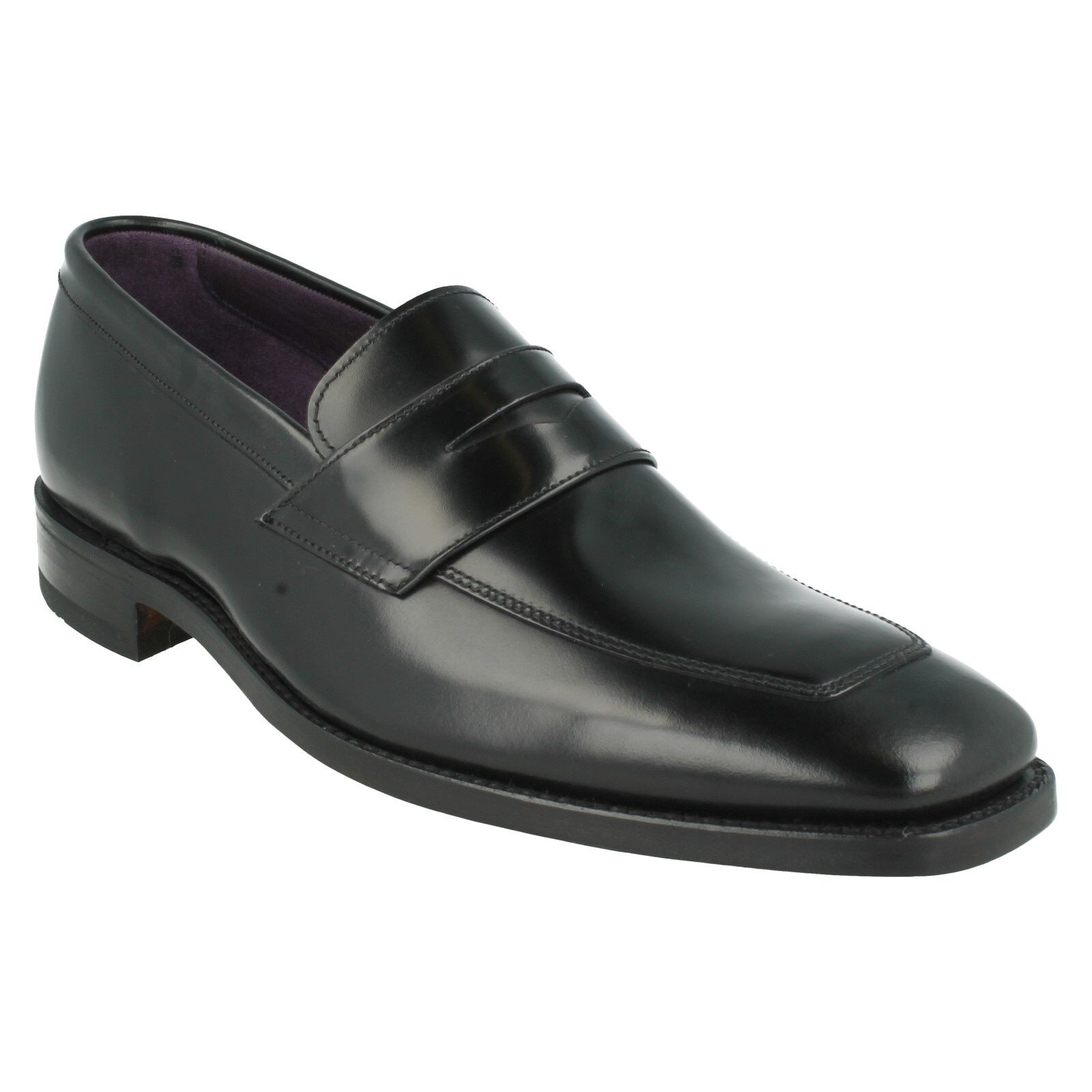 MENS LOAKE YEOVIL BLACK LEATHER SLIP ON SMART FORMAL SHOES FIT G SIZE 7 & 12