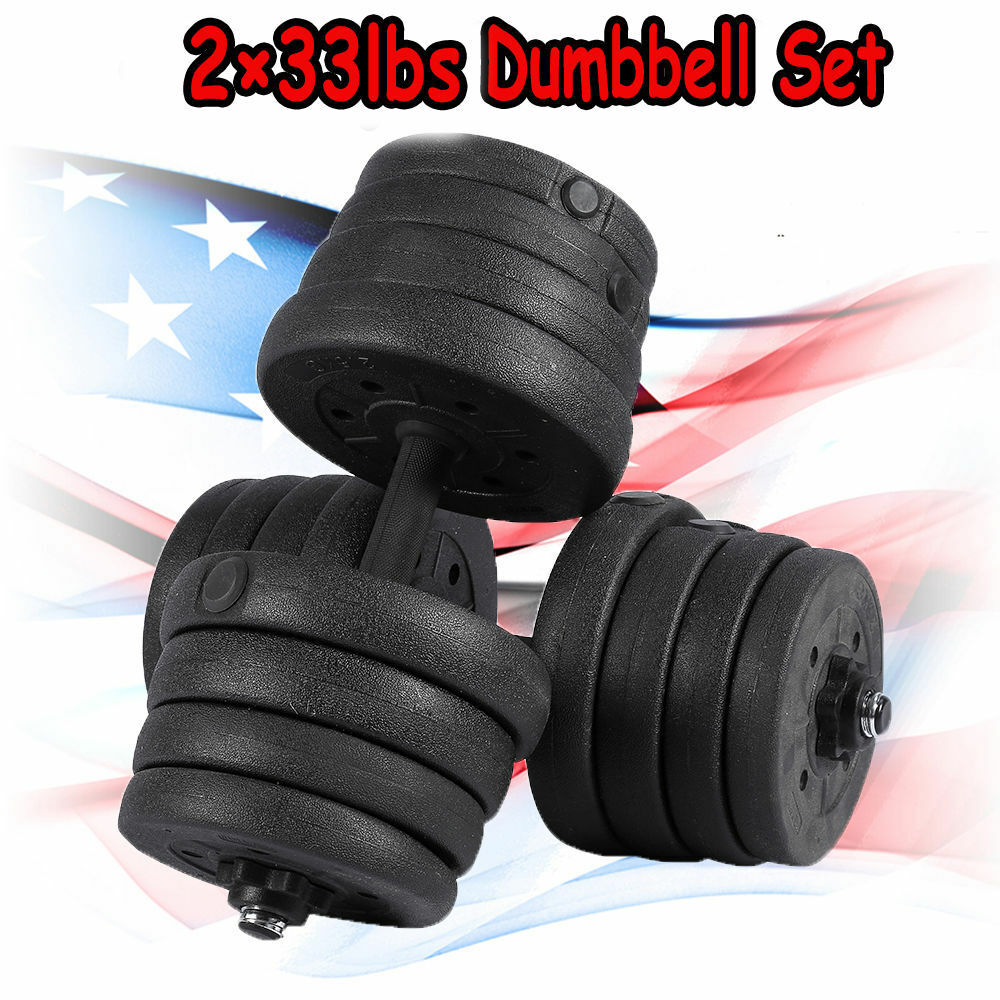 66 LB  Weight Dumbbell Set Adjustable Cap Gym Barbell Iron Plates Body Workout  famous brand
