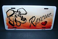 Rescue Dog Metal Aluminum Car License Plate Tag Animal Love Dogs Paws