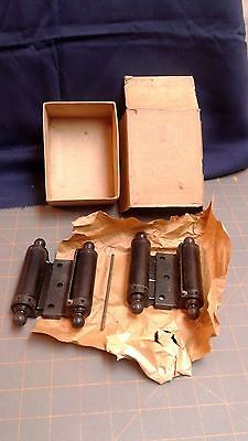 Pair Double Action Spring Hinges 3 In. and Installation Tool Orig. Box NOS VTG