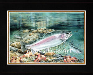Matted-Rainbow-Trout-Fish-Art-Print-034-Rainbows-In-Fall-034-8-034-x-10-034-mat-by-Roby-Baer