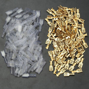 100Pairs-6-3mm-brass-crimps-terminal-female-spade-connector-with-insulate-sle-JC