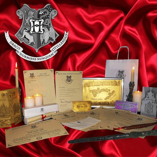 Harry Potter ULTIMATE Set!Train Ticket, Wand, Hogwarts Letter, Quill, Maps, Box+