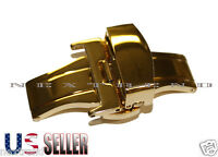 Gold Stainless Steel Butterfly Deployment Clasp Buckle With Push Button