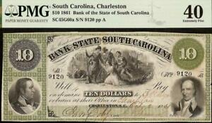 1861-10-DOLLAR-SOUTH-CAROLINA-BANK-NOTE-LARGE-CURRENCY-OLD-PAPER-MONEY-PMG-40