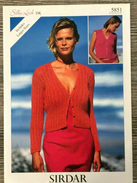 Sirdar Ladies Cardigan /& Waistcoat Wash n Wear Knitting Pattern 7340 DK ...