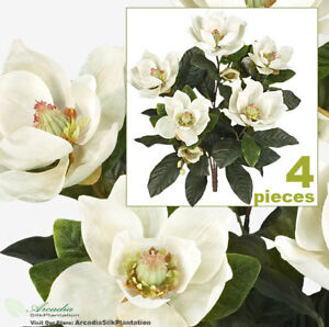 Four 2 magnolia silk flowers artificial plants 305cw ebay image is loading four 2 039 magnolia silk flowers artificial plants mightylinksfo Choice Image