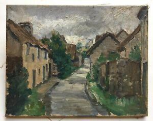 Petit tableau ancien, Huile sur toile, Paysage, Rue, Village, XXe