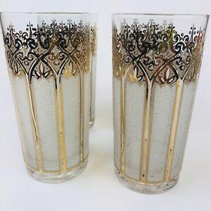 4-Gold-Highball-Glasses-Signed-Mid-Century-Modern