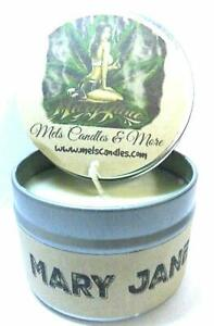 Details about Mary Jane (Marijuana Aroma) 4oz All Natural Hand Made Soy  Candle Tin Approximate