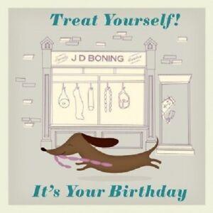 Retro-Vintage-Dachshund-Sausage-Dog-034-Happy-Birthday-034-card-12-5x12-5cm
