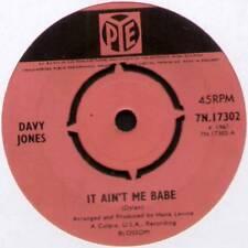 "[MONKEES] DAVY JONES ~ IT AIN'T ME BABE / BABY IT'S ME ~ 1967 UK 7"" SINGLE"