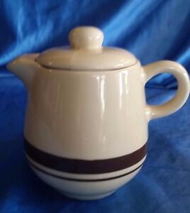 Vintage-Creamer-MCCOY-POTTERY-7020-TAN-amp-BROWN-STRIPE-With-Lid-1