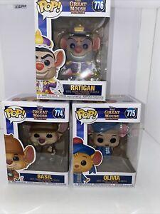 Funko Pop! Disney The Great Mouse Detective Basil, Olivia, Ratigan Complete Set