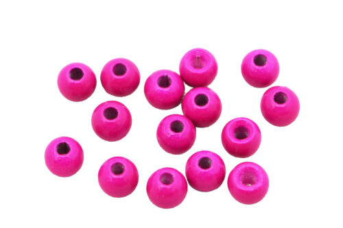 50 pcs UV Magenta Copper Beads Fly Tying Beads Weight Nymph Head Jig Materials