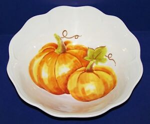 STUNNING-LARGE-MAXCERA-WATERCOLOR-PUMPKIN-PATCH-12-034-SERVING-BOWL