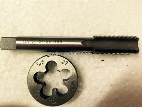 1pc HSS Machine 5//8-27 UNS Plug Tap and 1pc 5//8-27 UNS Die Threading Tool