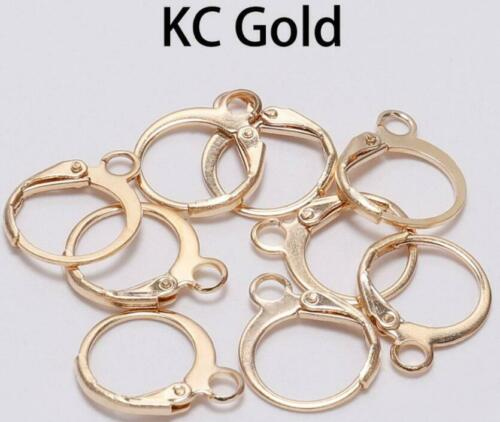 30//60Pcs Brass French Hooks Ear Wires Connector Clip Lever Back Earrings Finding