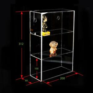 3 Tier Acrylic Display Box Case Sliding Door Wall Mount Collectibles