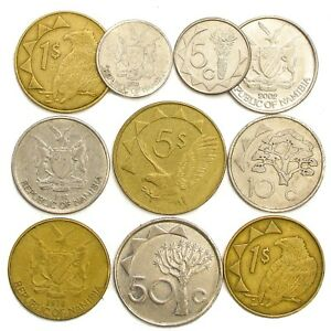 10-COINS-FROM-NAMIBIA-OLD-COLLECTIBLE-COINS-SOUTHWEST-AFRICA-NAMIBIAN-DOLLAR