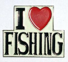 I LOVE FISHING - LAPEL PIN BADGE - ANGLING FISHERMAN FISH SALMON TROUT  (DB-07)