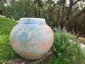 Tony Evans Raku Large Pottery Vase Multi Colored collectible art vintage