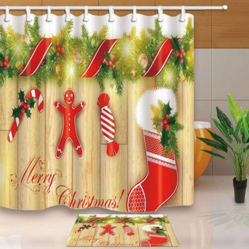 environ 180.34 cm Gingerbread Man et chaussettes Bougie Vacances Salle de bains Tissu Rideau de douche 71 in