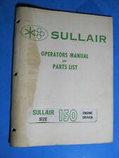 Sullair Air Compressor Operators Manual Amp Parts List 150 1976