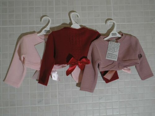 PEX Baby Girls Spanish style Bolero cardigan pink, Red Bow 0-3 - 12-18 months