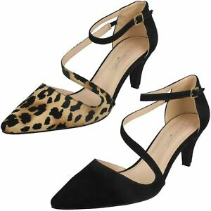 22a32ee8b0f LADIES ANNE MICHELLE CLOSED TOE ANKLE STRAP MID HEEL COURT SHOES ...