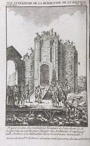 Rare-Gravure-1789-Demolition-de-la-Bastille-Revolution-de-Paris-15-Juillet-1789