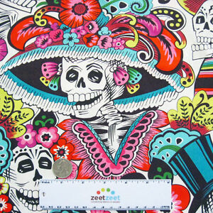 Alexander-Henry-Dia-De-La-CATRINA-Natural-Day-of-the-Dead-Quilt-Fabric-by-Yard