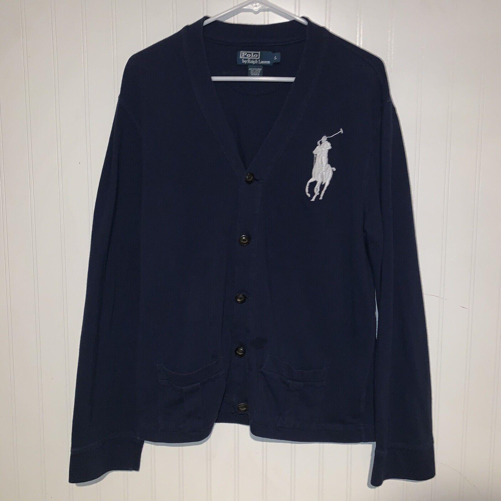 Vintage 90s Polo Ralph Lauren Navy Cardigan schweißer Größe groß Big Pony RARE