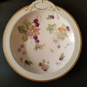 """Antique Sevres Berries 10 7/8"""" One Handled Serving Bowl"""
