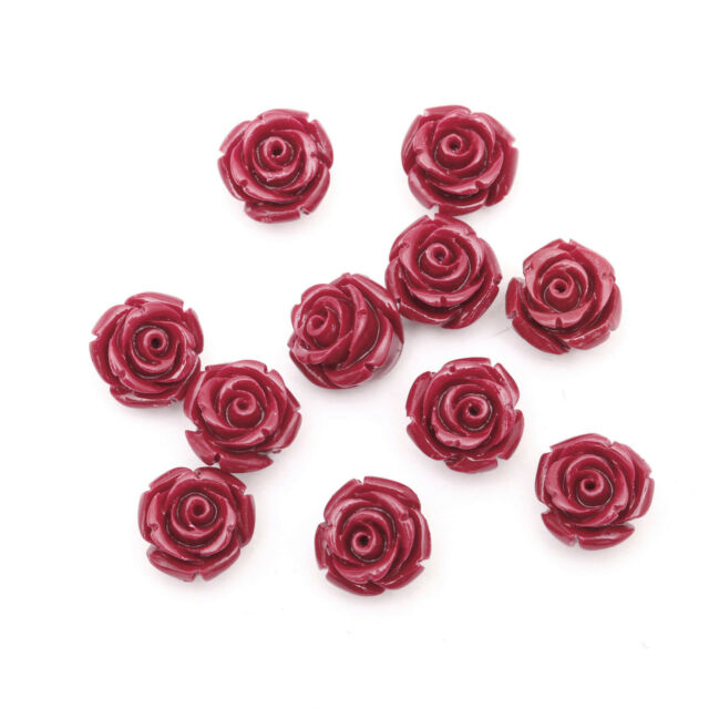 20pcs Gorgeous Rose Flower Coral Resin Spacer Beads Jewelry Making Crafts