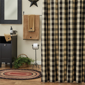 Image Is Loading WICKLOW Black Dark Tan Check Fabric Shower Curtain