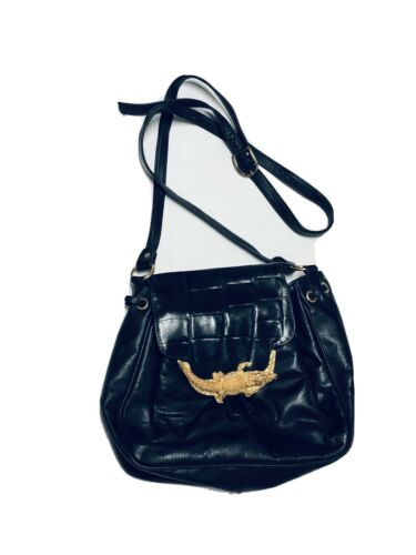 Vtg Leather Brass Alligator Crossbody Bags By Pink