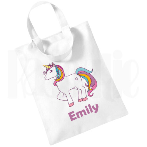 Personalised Children/'s Girls White Cotton Mini Tote Bag Book Bag /'Unicorn/' Bag