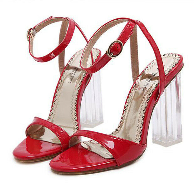 Sandali eleganti tacco quadrato simil 9.5 cm rosso lacci simil quadrato pelle eleganti 9702 99d9a7