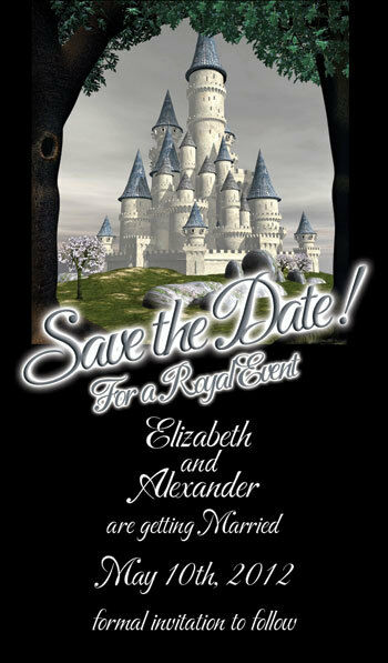 Save the Date Wedding Invitation Magnets Fairytale Castle Theme
