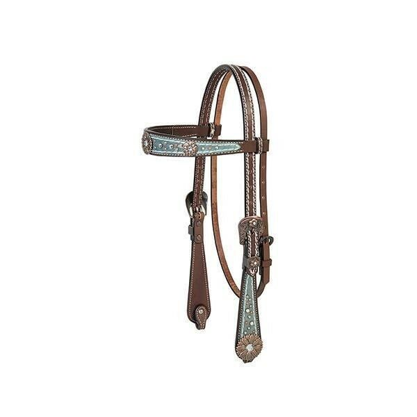 Weaver Leather Savannah Browband Headstall, Metallic Turquoise Brown