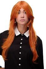 Perücke Wig sehr lang Orange Orange-Rot gestuft glatt Scheitel 75cm 3110-T2735