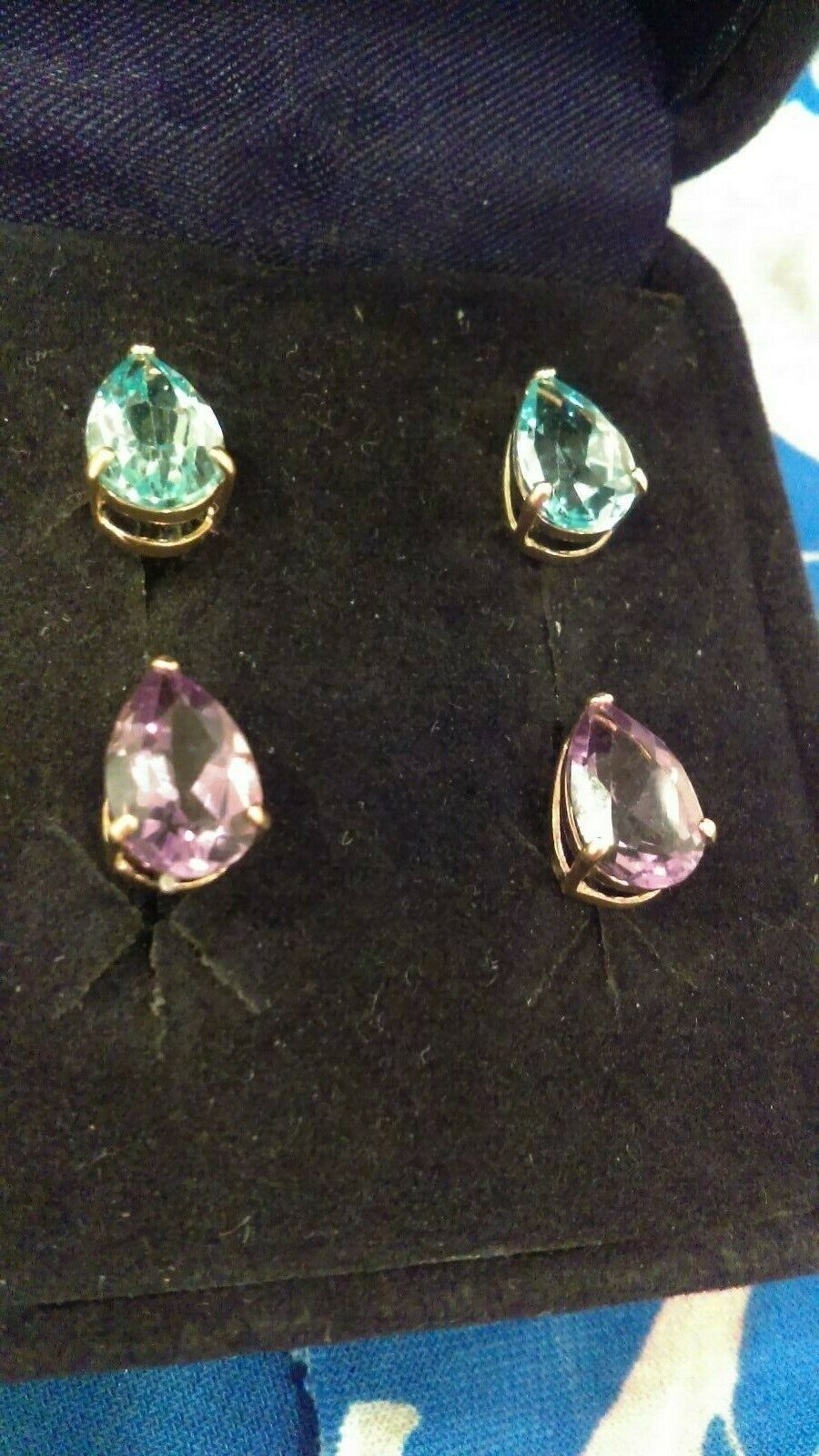 Gemstone Drop Earring Set 14k gold