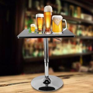 Détails sur Table Haute de Bar Bistrot Restaurant Jardin Hauteur Réglable  Carrée