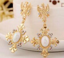 BEAUTIFUL ZARA BAROQUE STYLE GOLD WHITE CROSS DROP DANGLE EARRINGS NEW
