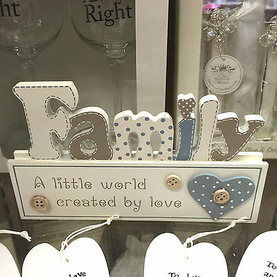 Family a little world created by love, shelf standing sign plaque buttons SH